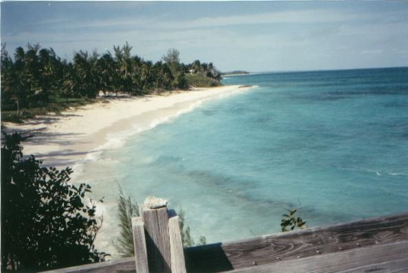 View of beach from deck at Sunrise Villa Eleuthera